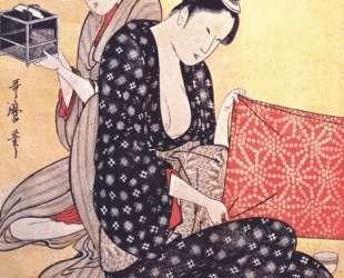 Women making dresses — Китагава Утамаро