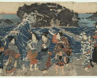Women on the Shore at Enoshima — Утагава Садатора