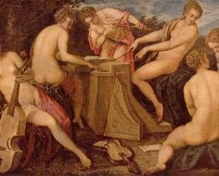 Women playing instruments — Тинторетто