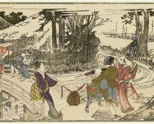 Women walking in a garden — Кацусика Хокусай