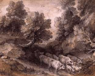 Wooded Landscape with Cattle and Goats — Томас Гейнсборо