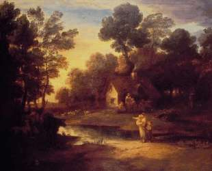 Wooded Landscape with Cattle by a Pool and a Cottage at Evening — Томас Гейнсборо