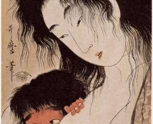 Yama uba and Kintaro with a Wine Cup — Китагава Утамаро