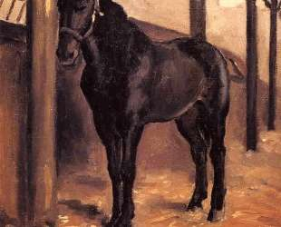 Yerres, Dark Bay Horse in the Stable — Гюстав Кайботт