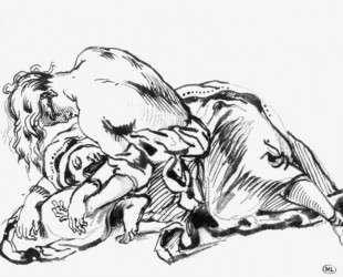 Девушка, склоенная над лежащей женщиной — Эжен Делакруа