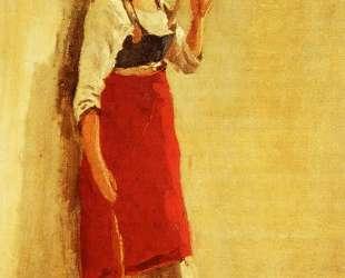 Молодая итальянка из Папиньо с веретеном — Камиль Коро