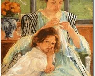 Молодая мать за шитьем — Мэри Кассат