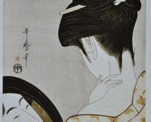 Young woman applying make up — Китагава Утамаро