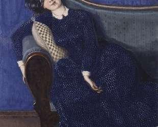 Спящая женщина в синем платье — Константин Сомов
