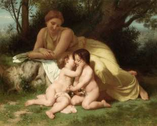 Young Woman Contemplating Two Embracing Children — Вильям Адольф Бугро