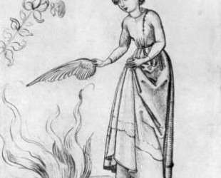 Young Woman Fanning a fire with a bird's wing — Мартин Шонгауэр