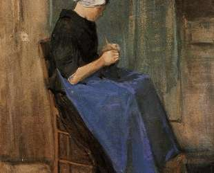 Young woman knitting — Винсент Ван Гог