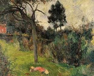 Молодая женщина, лежа на траве — Поль Гоген