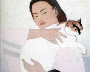 Young woman with white cat — Уилл Барнет