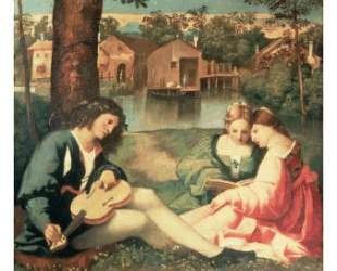 Юноша с гитарой и две девушки на берегу реки — Джорджоне