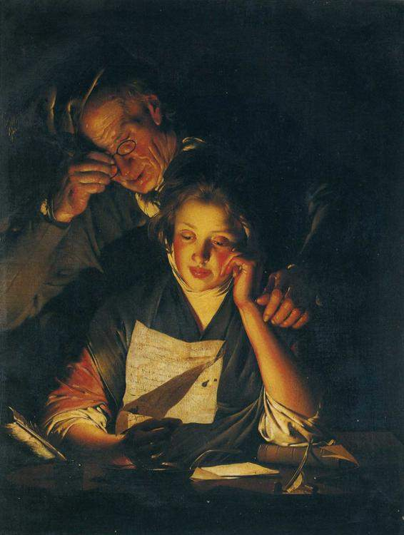 A Girl reading a Letter, with an Old Man reading over her shoulder — Джозеф Райт