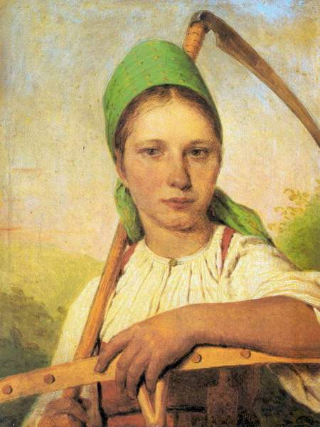 A Peasant Woman with Scythe and Rake — Алексей Венецианов