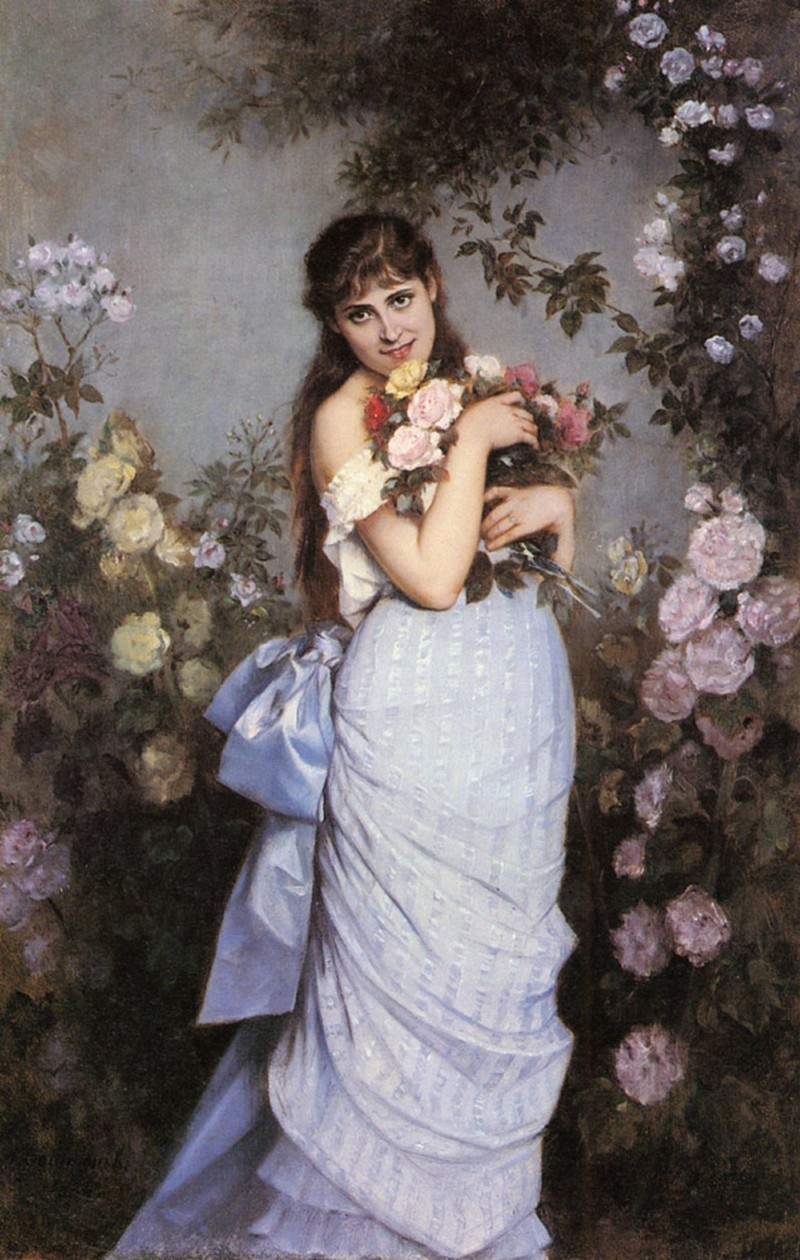 A Young Woman in a Rose Garden — Огюст Тульмуш