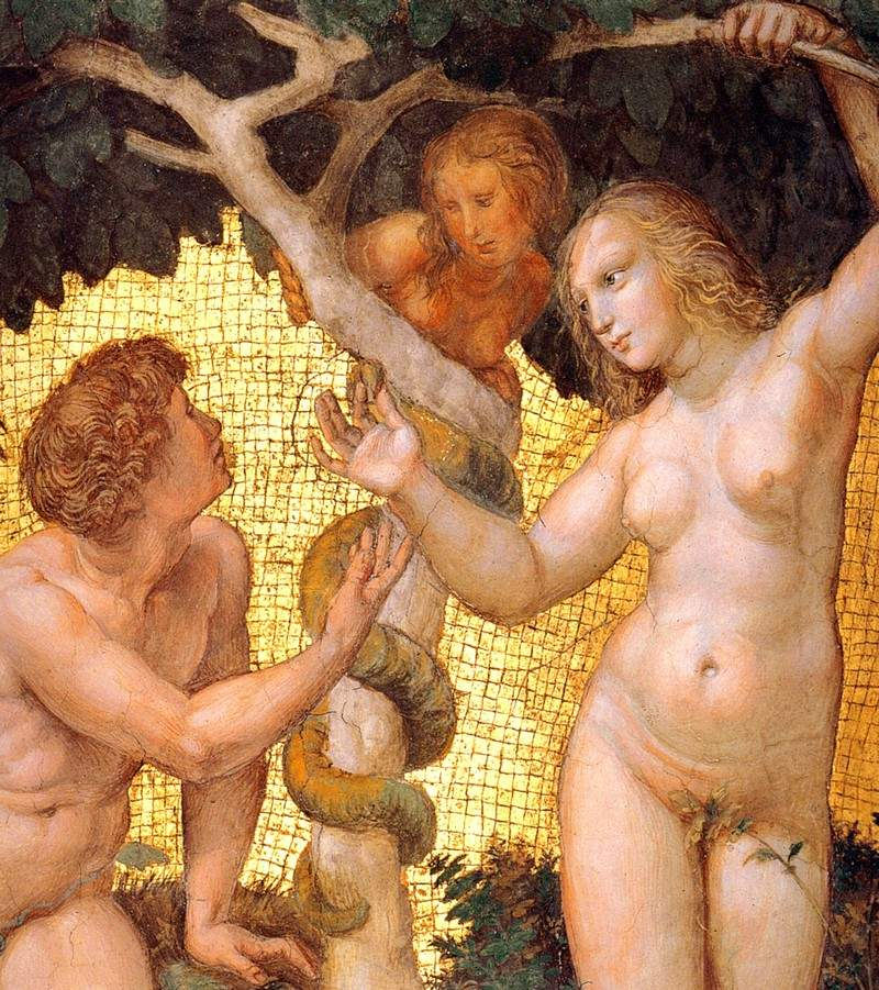 Adam and Eve, from the 'Stanza della Segnatura' (detail) — Рафаэль Санти