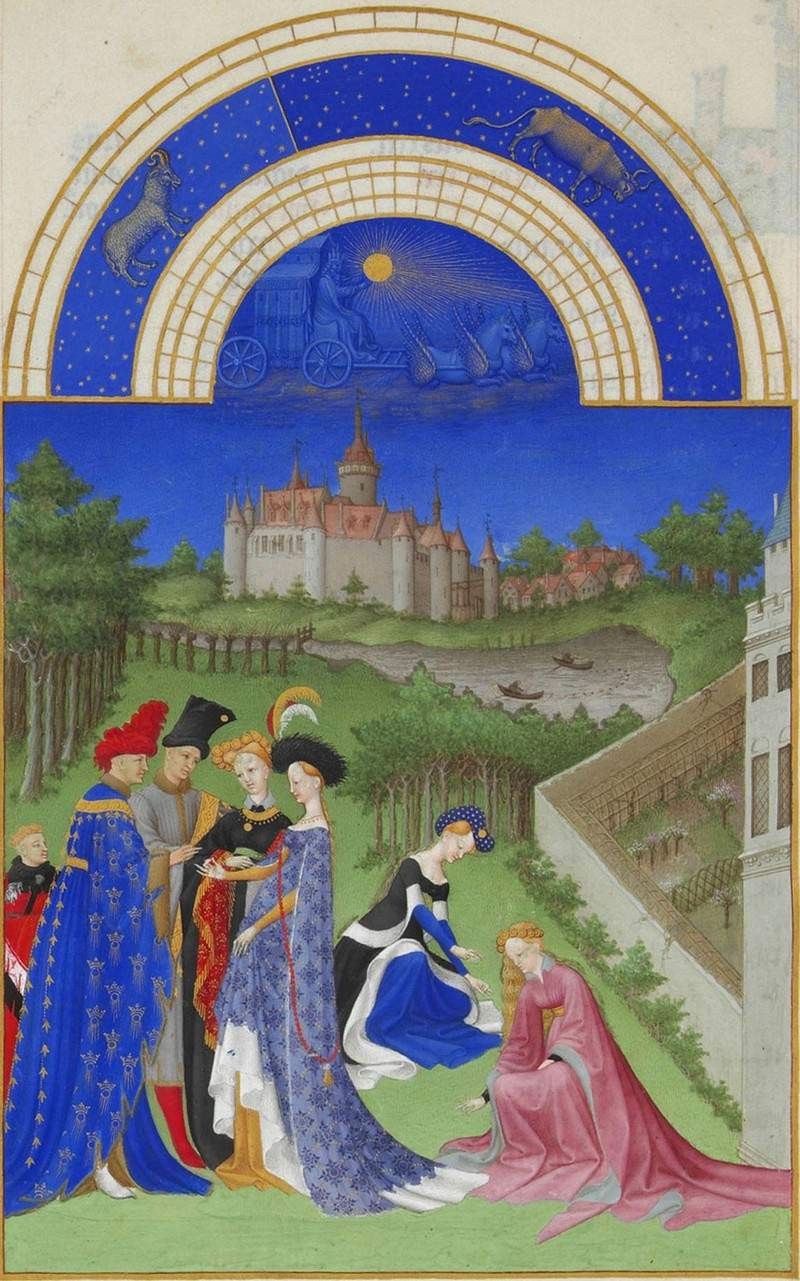 April: Courtly Figures in the Castle Grounds — Братья Лимбург