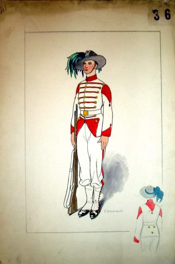 Costume design for an officer with a gun — Юрий Анненков