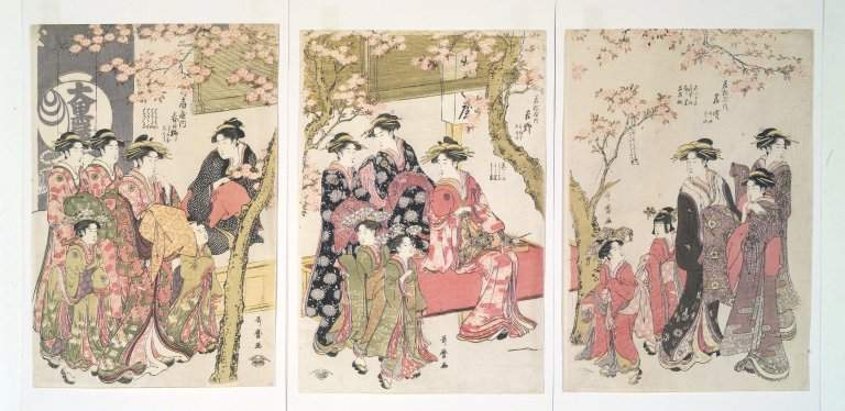 Courtesans Strolling Beneath Cherry Trees Before the Daiko — Китагава Утамаро