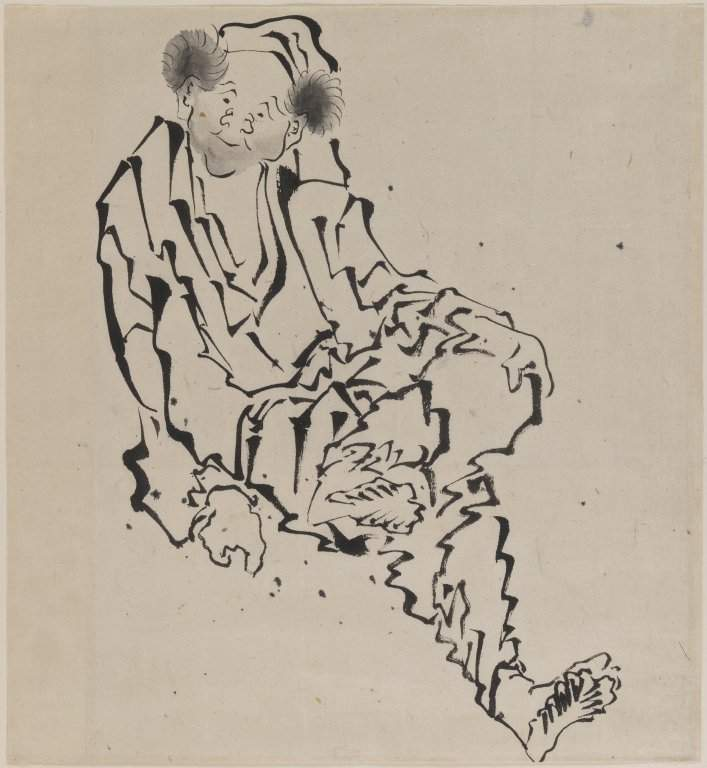 Drawing of Man Seated with Left Leg Resting over Right Knee — Кацусика Хокусай