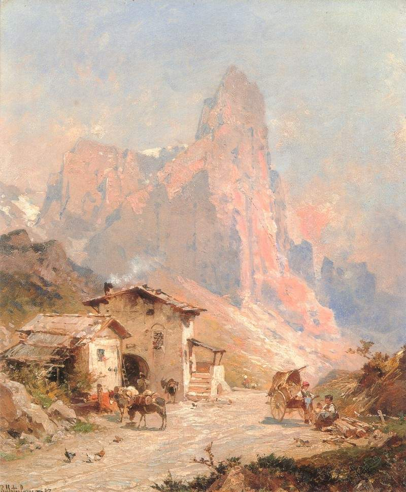 Figures in a Village in the Dolomites — Франц Рихард Унтербергер