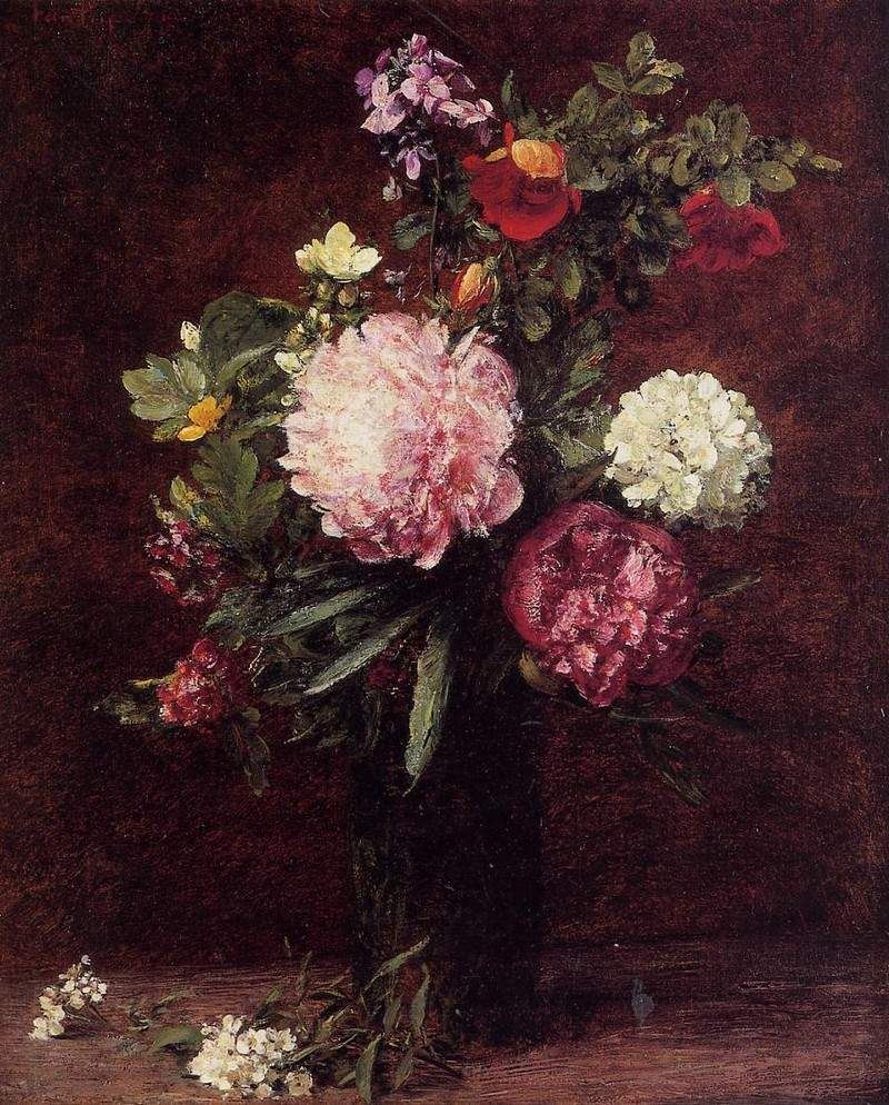 Flowers Large Bouquet with Three Peonies — Анри Фантен-Латур