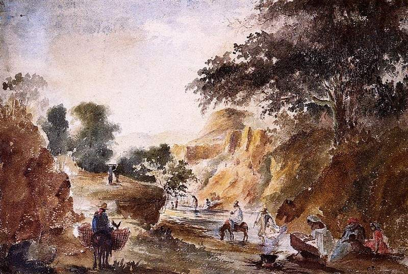 Landscape with Figures by a River — Камиль Писсарро