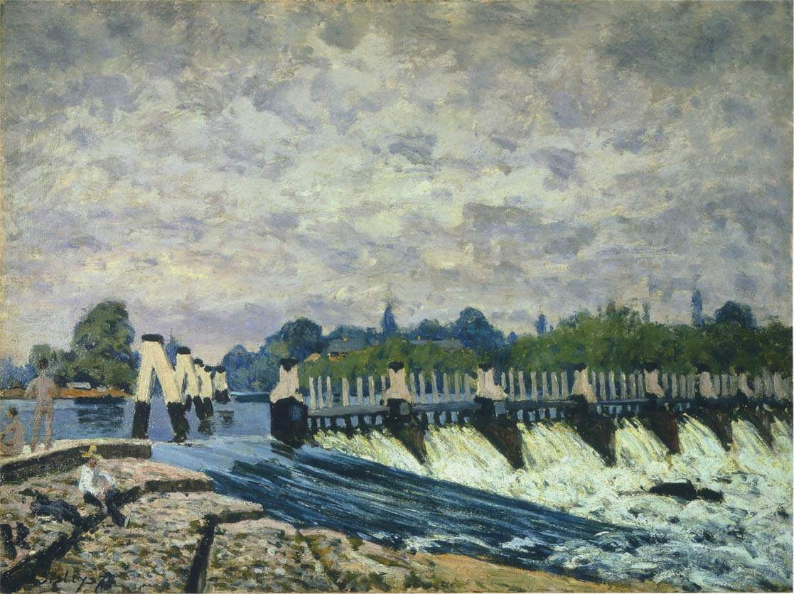 Molesey Weir at Hampton Court Morning — Альфред Сислей