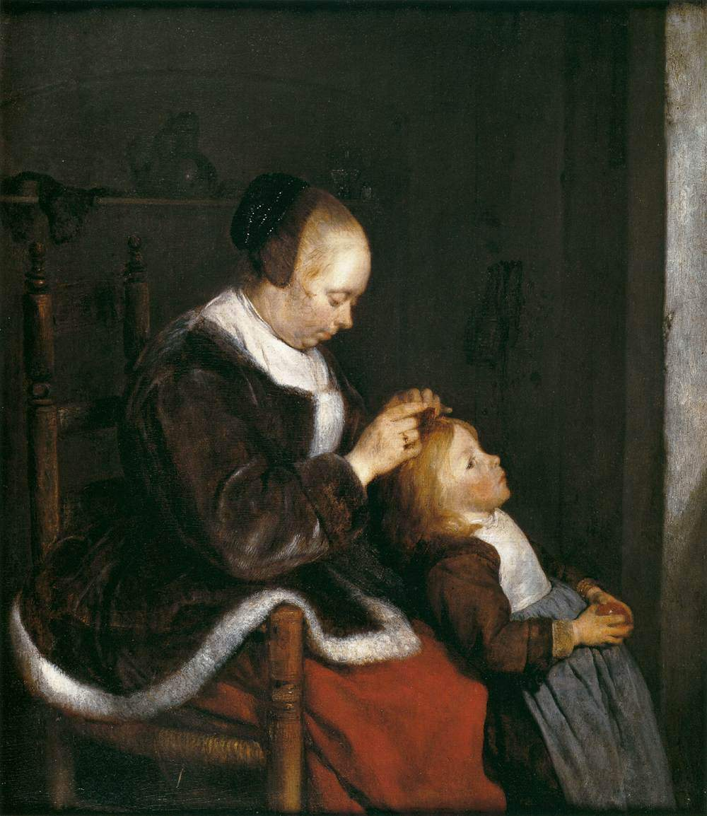 Mother Combing the Hair of Her Child — Герард Терборх