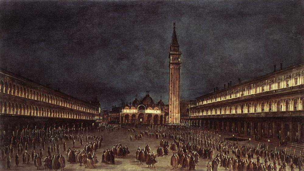 Nighttime Procession in Piazza San Marco — Франческо Гварди