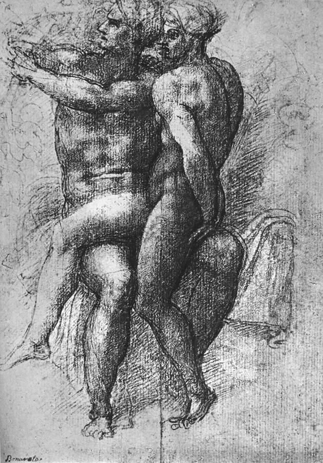 Nude female seated on the knees of a seated male nude: Adam and Eve — Микеланджело