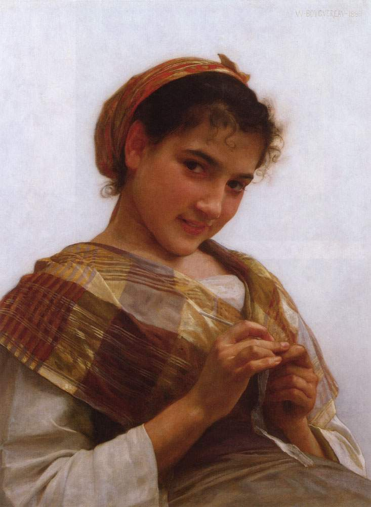 Portrait of a Young Girl Crocheting — Вильям Адольф Бугро