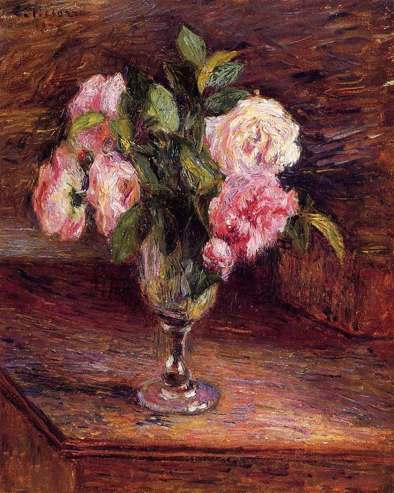 Roses in a Glass — Камиль Писсарро