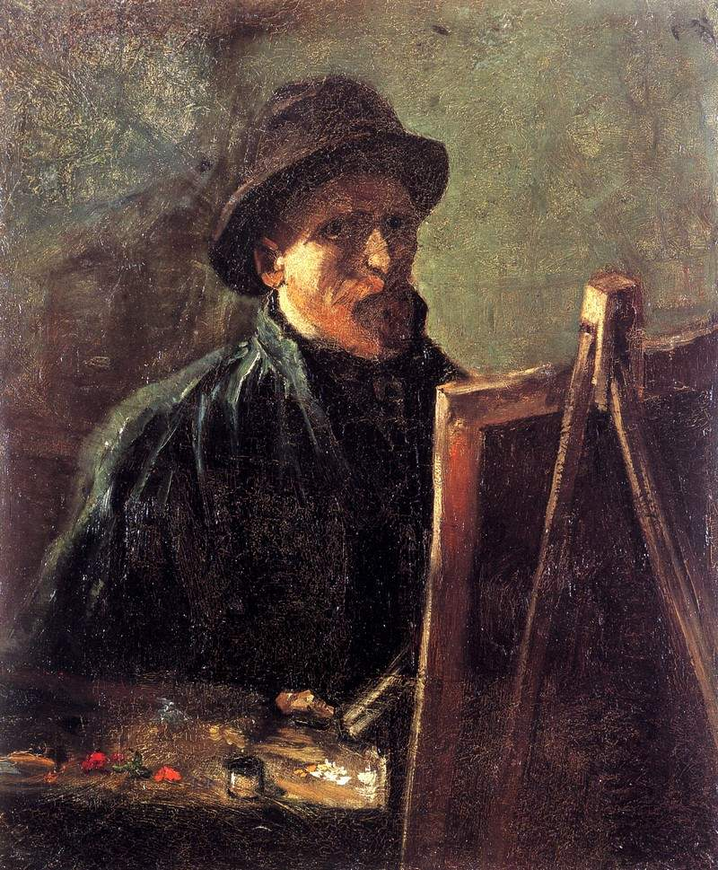 Self-Portrait with Dark Felt Hat at the Easel — Винсент Ван Гог