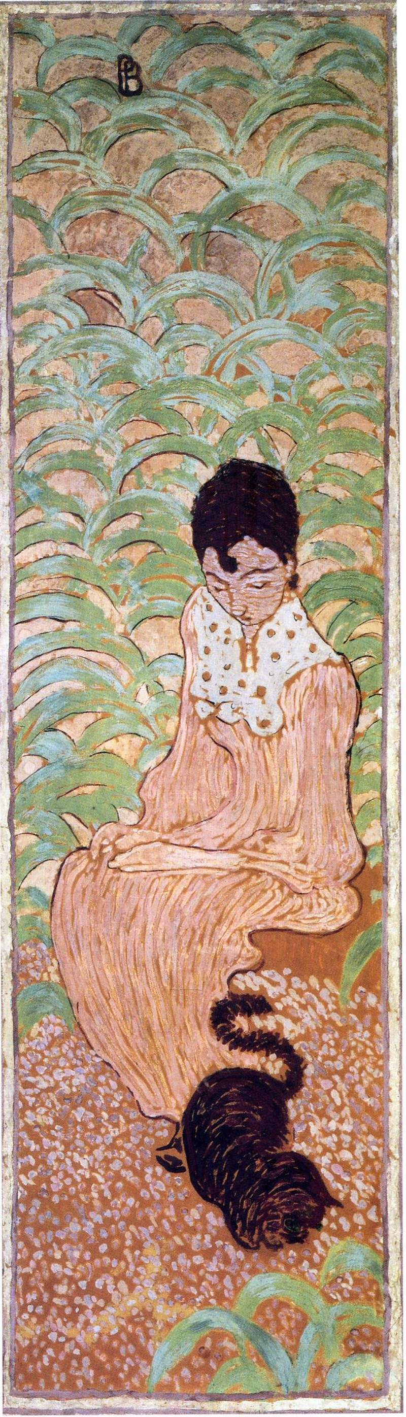 Sitting Woman with a Cat — Пьер Боннар