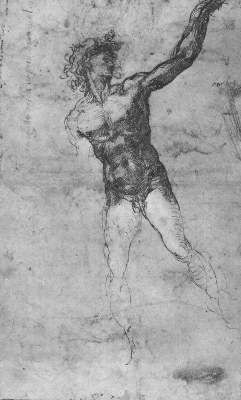 Sketch of a Nude Man (study for the 'Battle of Cascina') — Микеланджело