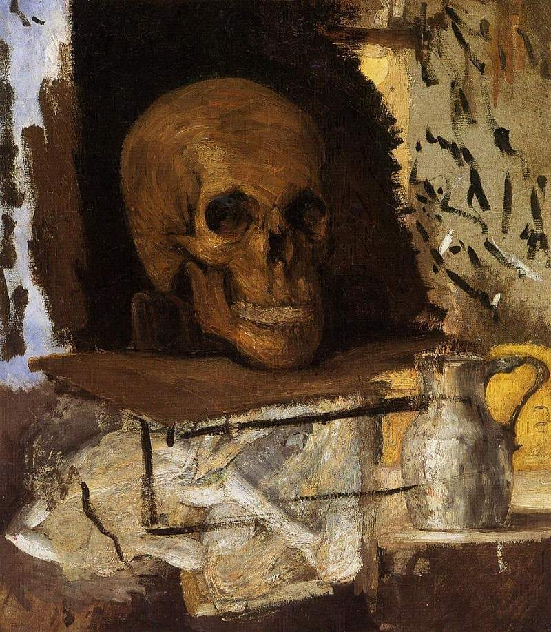Still Life Skull and Waterjug — Поль Сезанн