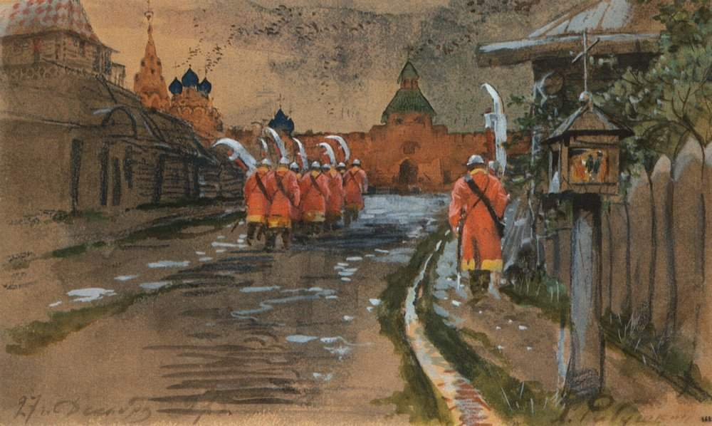 Strelets Patrol at Ilyinskie gates in the old Moscow — Андрей Рябушкин