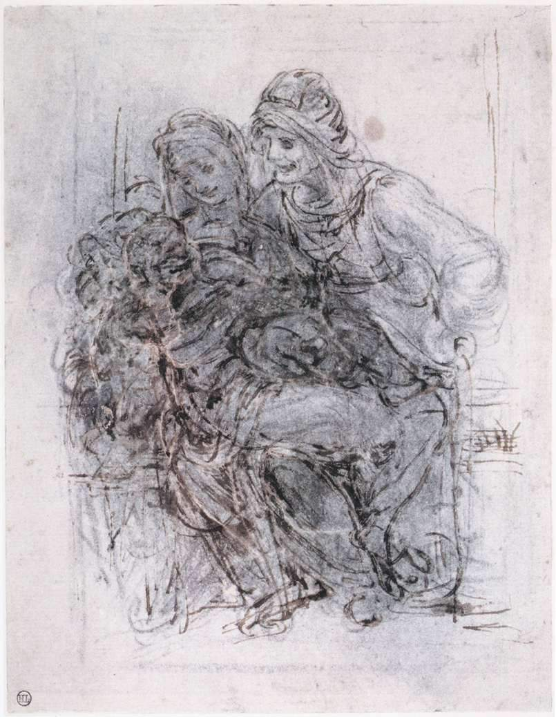 Study of St Anne, Mary and the Christ Child — Леонардо да Винчи