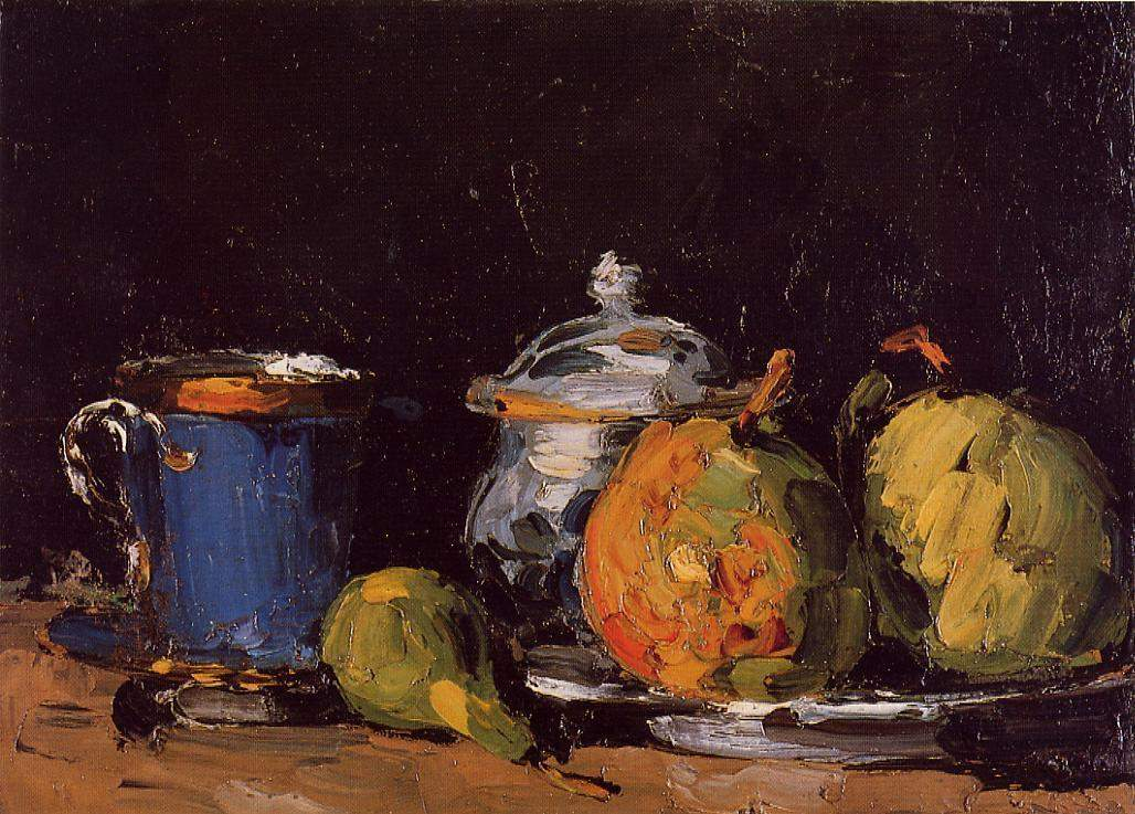 Sugar Bowl, Pears and Blue Cup — Поль Сезанн