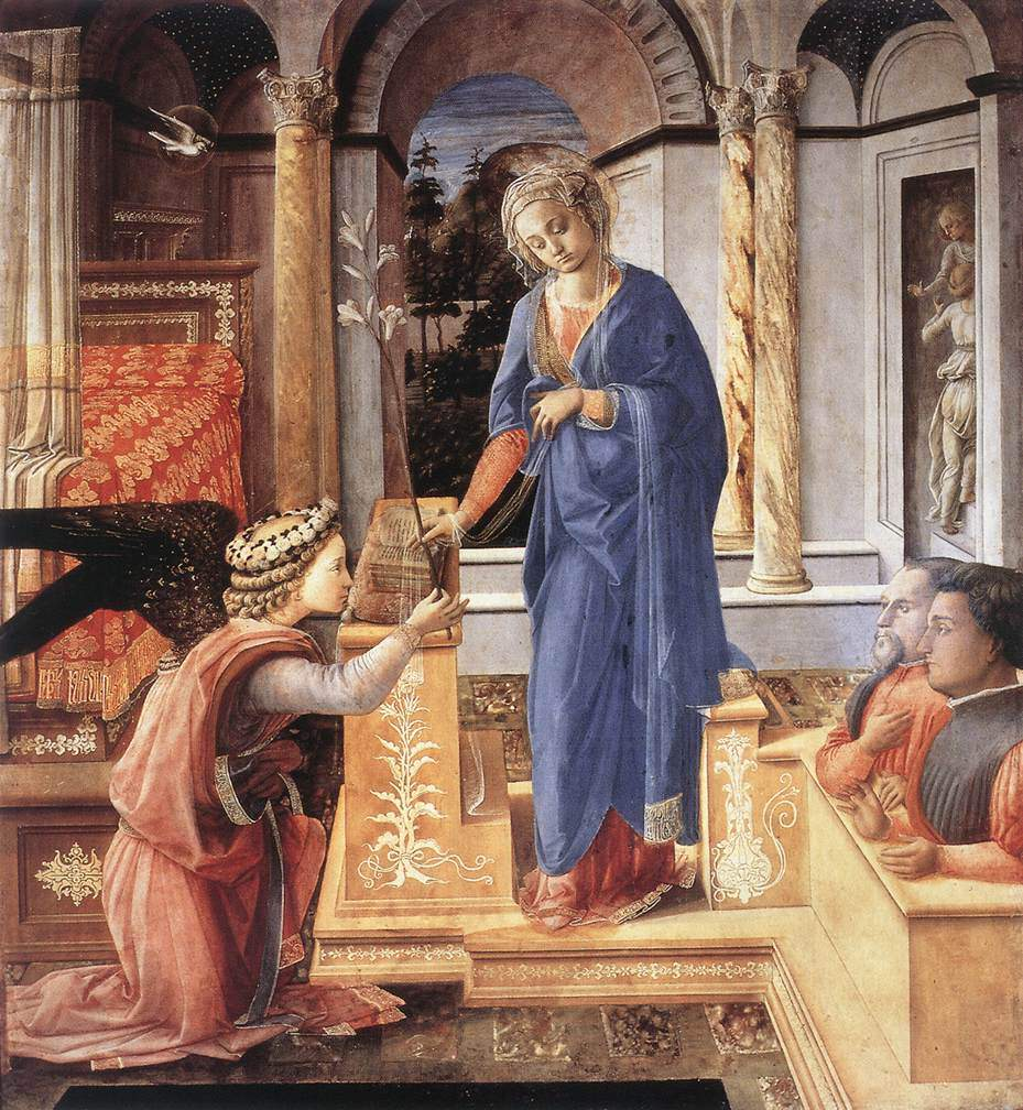 The Annunciation with two Kneeling Donors — Филиппо Липпи