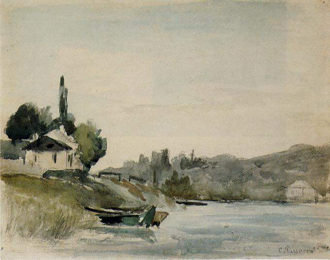 The Banks of the Marne at Cennevieres — Камиль Писсарро