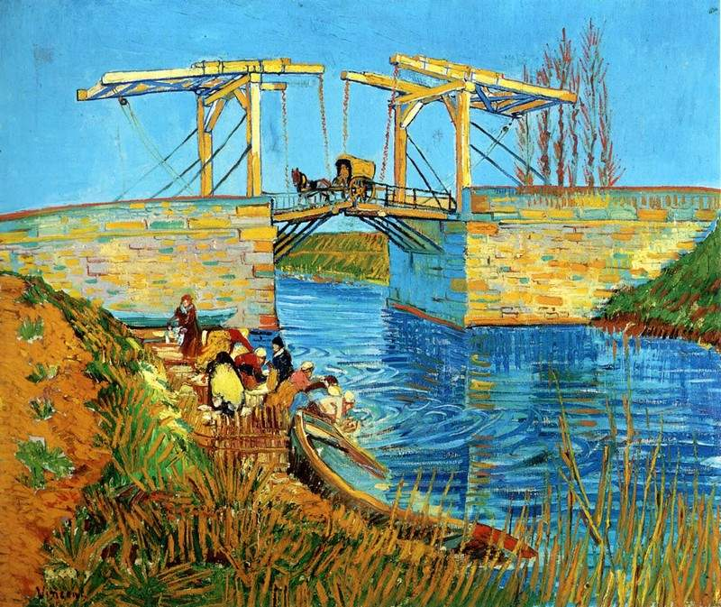 The Langlois Bridge at Arles with Women Washing — Винсент Ван Гог