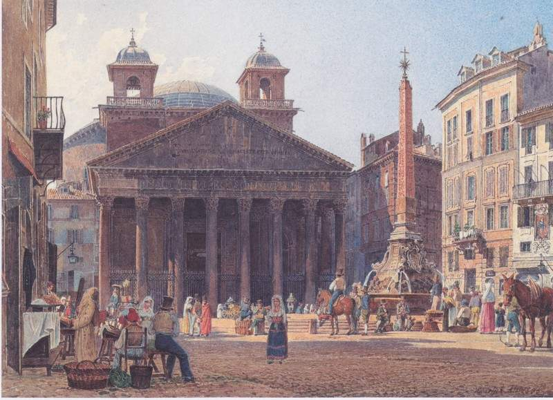 The Pantheon and the Piazza della Rotonda in Rome — Рудольф фон Альт