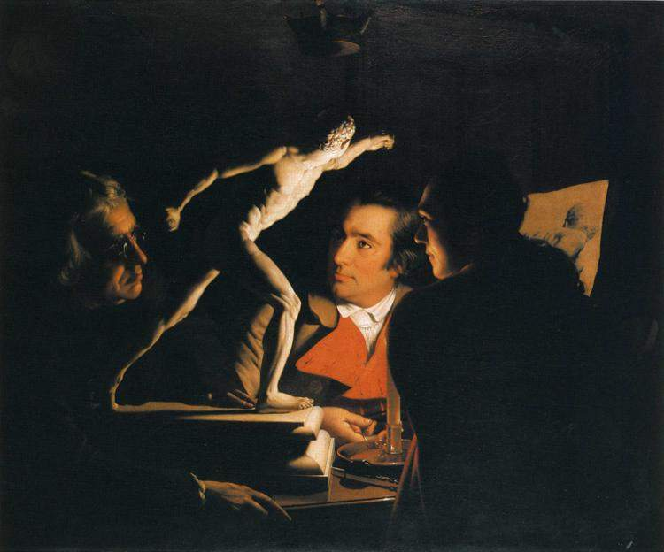 Three Persons Viewing the Gladiator by Candlelight — Джозеф Райт
