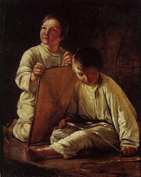 Two Peasant Boy with a kite — Алексей Венецианов