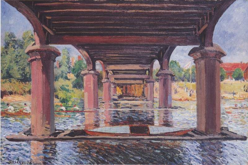 Under the bridge at Hampton Court — Альфред Сислей